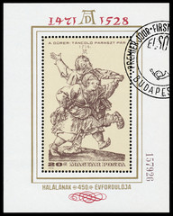 Stamp printed in Hungary shows engraver by Albrecht Durer