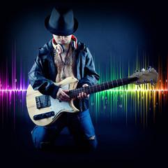 Gitarrespieler mit Equalizer