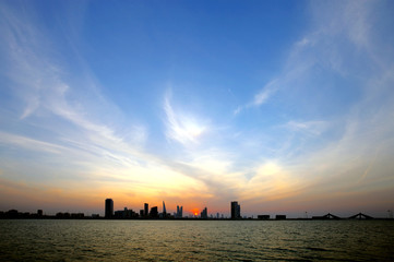 Bahrain skyline during dusk