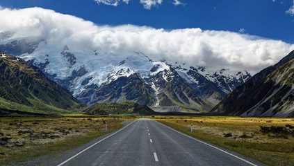 Road to Mt. Cook Village, New Zealand - HDR image