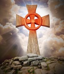 Ancient cross on the peak.