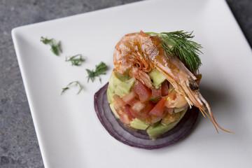 Tartar tomato and avocado with prawns