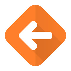 left arrow orange flat icon arrow sign
