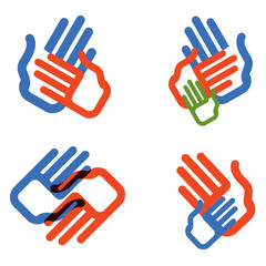 hands vector logo design template. people, family or charity