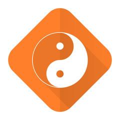 ying yang orange flat icon