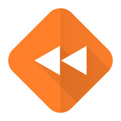 rewind orange flat icon