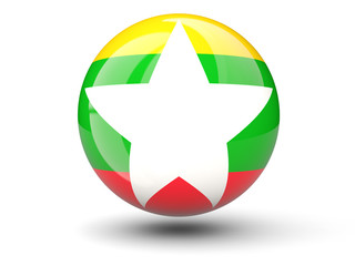 Round icon of flag of myanmar