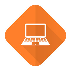 computer orange flat icon pc sign