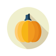 Pumpkin flat icon with long shadow