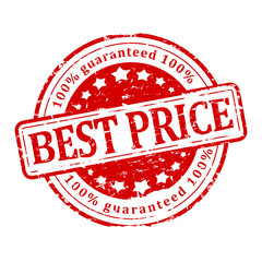 Damaged red round stamp - best price - guaranteed - vector