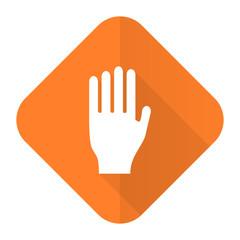 stop orange flat icon hand sign