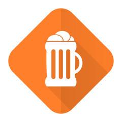 beer orange flat icon mug sign