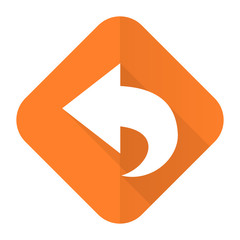 back orange flat icon arrow sign