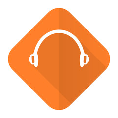 headphones orange flat icon