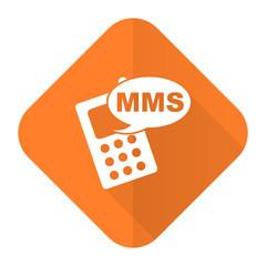 mms orange flat icon phone sign