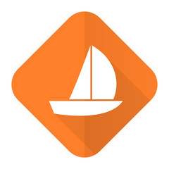 yacht orange flat icon sail sign
