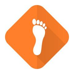 foot orange flat icon