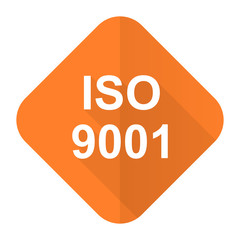 iso 9001 orange flat icon