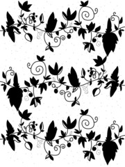 decorative background black and white  flowers on a branch