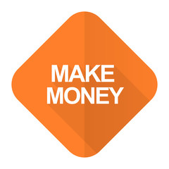 make money orange flat icon
