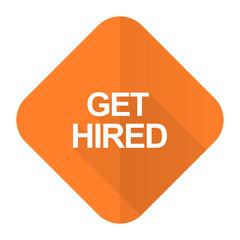 get hired orange flat icon