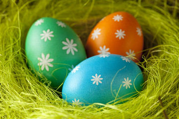 Colored Easter eggs in the nest