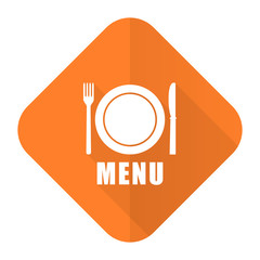 menu orange flat icon restaurant sign
