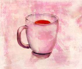 A r drawing of a tea cup with a distressed background texture