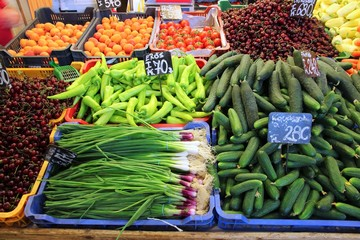 Fresh vegetables in Great Market Hall, Budapest