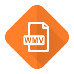 wmv file orange flat icon