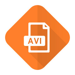 avi file orange flat icon