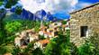 Leinwandbild Motiv stunning mountain villages of Corsica - Evisa
