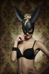 erotic girl with bunny masquerade