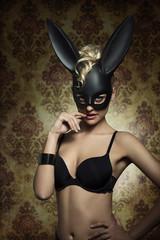 erotic girl with bunny masquerade