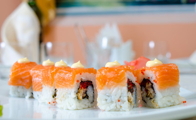 Rolls, sushi and ginger