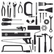 Various hand tools vector silhouette icon set 1 - 78597828