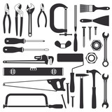 Various hand tools vector silhouette icon set 1