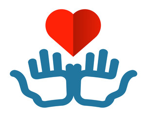 hands and heart vector logo design template. health or charity