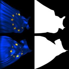 Waving European Union Flags