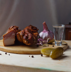 smoked rib with pickled cucumber and vodka