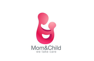 Mother holding hands with child logo design vector