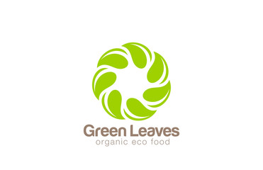 Infinite Green Eco Logo design looped leaf circle vector