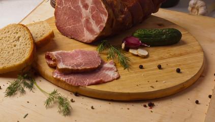 wooden desk meat gammon dill