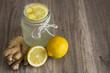 Leinwandbild Motiv Detox Lemon and Ginger Drink in a Jar