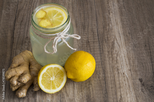 Detox Lemon and Ginger Drink in a Jar - 78599875
