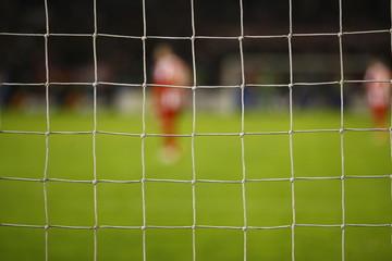 Soccer goal net during the game