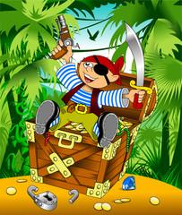 funny pirate and treasure