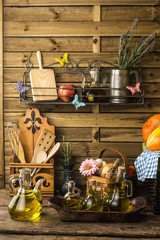 Olive oil in a rustic kitchen