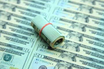 20 dollar roll on dollar bill background
