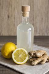 Lemon and Ginger Detox Drink in a Closed Bottle